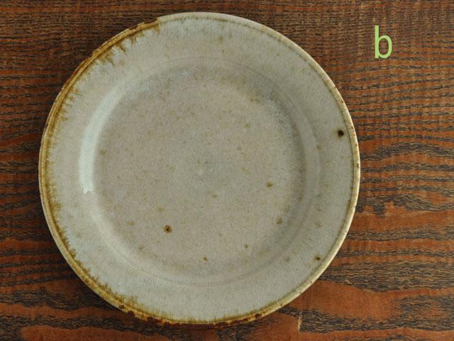 わら灰釉六寸リム皿-8b