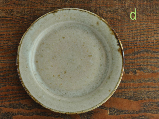 わら灰釉六寸リム皿-8d