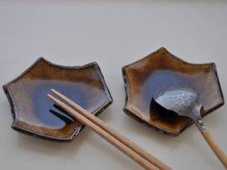 飴釉六角豆皿-5